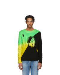 The Elder Statesman Green And Yellow Cashmere Intarsia Sun Sweater