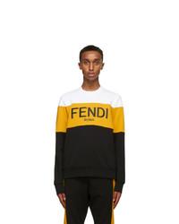 Fendi White And Yellow Logo Sweatshirt