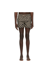 Burberry Beige And Black Check Greenford Swim Shorts