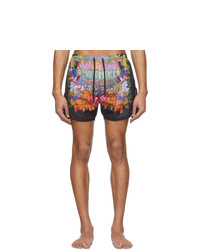 Neil Barrett Multicolor Art Collage Swim Shorts