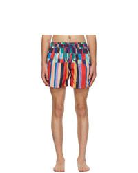 Paul Smith Multicolor Stripe Print Swim Shorts