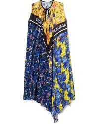 Balenciaga Pleated Printed Satin Twill Dress