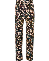 Chloé Printed Cotton Blend Velvet Straight Leg Pants