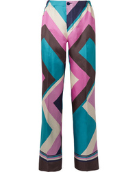 F.R.S For Restless Sleepers Etere Printed Silk Twill Straight Leg Pants