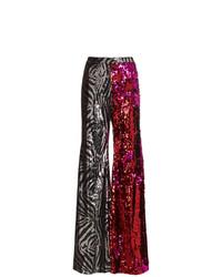 Halpern Zebra Print And Sequin Flared Trousers