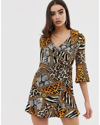 Outrageous Fortune Ruffle Wrap Mini Dress With Fluted Sleeve In Multi Chain Print