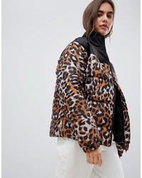 Daisy Street Padded Jacket With Ring Pull In Leopard Print