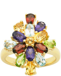 Fine jewelry multi gemstone 18k yellow gold over sterling silver cluster ring medium 243867