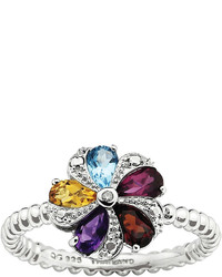 Fine jewelry personally stackable sterling silver multi gemstone ring medium 243868