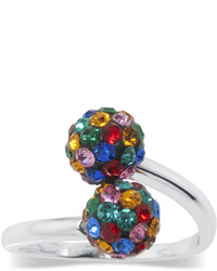 Sparkle allure pure silver plated multi color crystal ball bypass ring medium 243861
