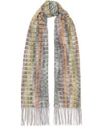 Missoni Fringed Striped Crochet Knit Scarf