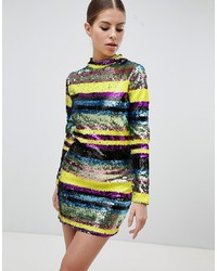 Club L Long Sleeve Sequin Mini Bodycon Dress
