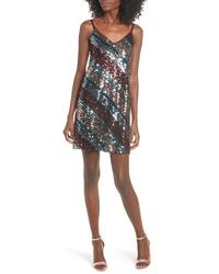 Leith V Neck Sequin Stripe Minidress