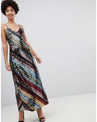 Stradivarius Diagonal Sequin Cami Dress In Midi