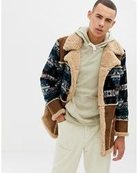 ASOS DESIGN Oversized Faux Shearling Jacket In Tan
