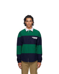 DSQUARED2 Navy And Green Striped United Rugby Shirt