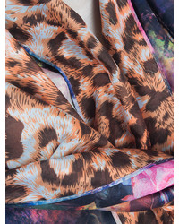 Choies Celebona Multi Silk Scarf With Floral And Leopard Print
