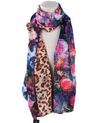 Choies celebona multi silk scarf with floral and leopard print medium 97346