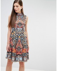Comino couture skater dress in folk print and embellisht medium 831301