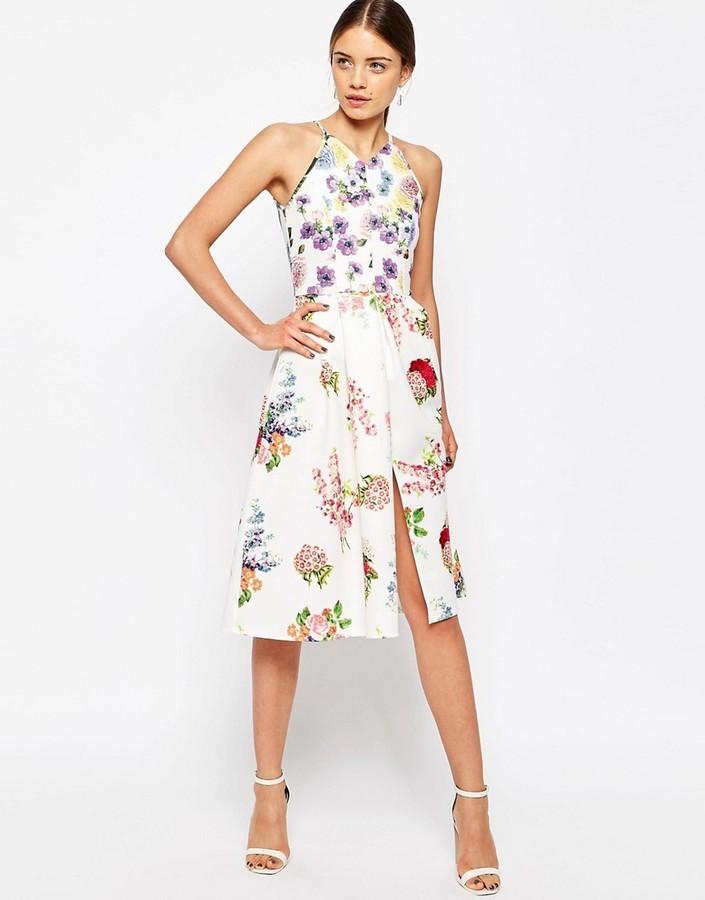 01809a47ca4 Asos Mix Match Floral Print Scuba Midi Skater Dress, $89 | Asos ...