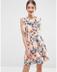 Asos Ruffle Neck Skater Dress In Pretty Floral Print