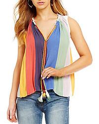 Ban jara multi colored striped tie neck flyaway sleeveless top medium 5023505