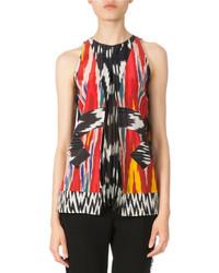 Sleeveless pleated ikat blouse multi colors medium 5023506