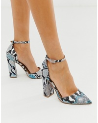 ASOS DESIGN Pebble Pointed High Heels In Snake