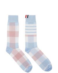 Thom Browne Blue And Pink 4 Bar Check Mid Calf Socks