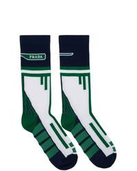 Prada White And Navy Technical Socks