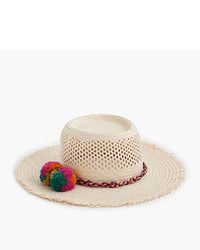 J.Crew Straw Hat With Rainbow Pom Poms