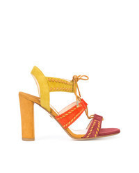 Multi colored Suede Heeled Sandals