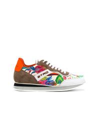 Etro Colour Block Floral Sneakers