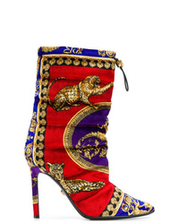 Versace Leopard Motif Padded Ankle Boots