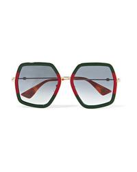 Gucci Oversized Square Frame Metal Sunglasses