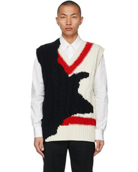Alexander McQueen Off White Black Intarsia Ink Bleeding Vest