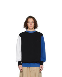 Marni Blue And Black Colorblock Logo Sweatshirt