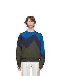 Neil Barrett Blue And Khaki Modernist Sweatshirt