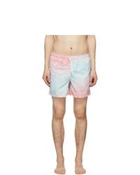 Bather Blue And Pink Gradient Cheetah Swim Shorts