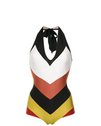 Adriana Degreas Color Block V Neck Swimsuit Unavailable