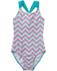 Girls 4 16 So Rainbow Chevron Pattern Racerback One Piece Swimsuit