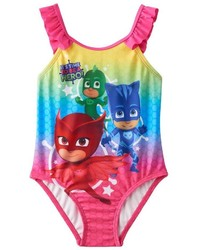 Toddler Girl Pj Masks Gekko Catboy Owlette Rainbow Ruffle One Piece Swimsuit