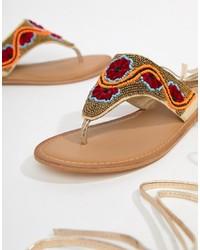 ASOS DESIGN Final Dance Beaded Flat Sandals