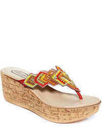 Tribal platform wedge thong sandals medium 53671