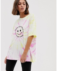 Weekday Feeling Good Slogan Oversized T Shirt In Pink And Yellow Tie Dye