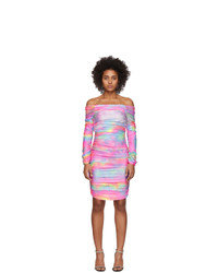 Sies Marjan Multicolor Tie Dye Glitter Jolene Off Shoulder Dress