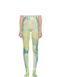 Versace Green And Blue Tie Dye Tights