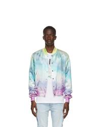 Amiri Multicolor Silk Watercolor Bomber Jacket