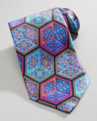 Ermenegildo Zegna Quindici Cube Print Silk Tie Black