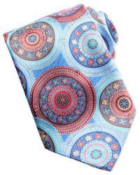 Ermenegildo Zegna Quindici Large Circle Silk Tie Light Blue